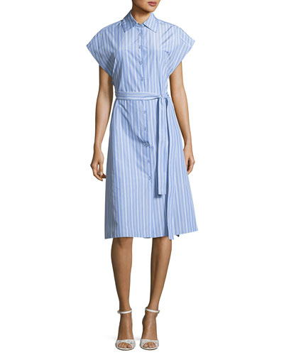 Blue Striped Rosetta Down Sleeve Cap Getty Shirtdress Button PUwO4