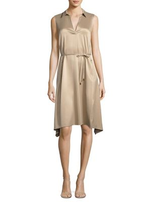 Lafayette 148 New York Sylvie Collared Silk Dress Umber KgzO9Br