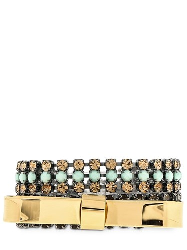 Double Bow Bracelet With Crystals Gold Mint