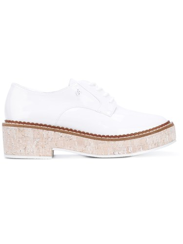 Armani Jeans Platform Lace Up Shoes Women Artificial Leather Rubber 35 White BxAHi
