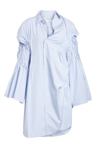 Junya Watanabe Asymmetrical Cotton Shirtdress White Sax rMXr4