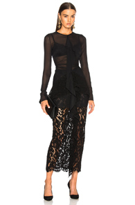 Corded Black Proenza Lace In Maxi Schouler Long Sleeve Dress 7qvwPSqx