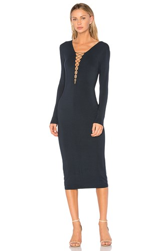 Alexander Lace Up Wang Dress Navy Midi rnY5Y4aq
