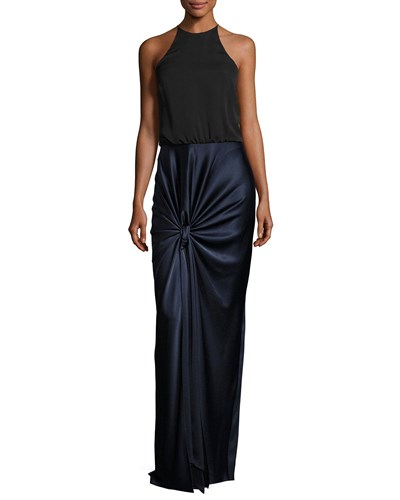 Halston Sleeveless High Neck Mixed Media Twist Drape Evening Gown Dark Navy tWe28p9qjQ