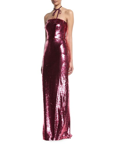 Sequin Evening Slim Lhuillier Strapless Fuchsia Column Monique Gown awEfqvCx