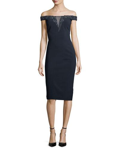 Theia Off The Shoulder Beaded Illusion Cocktail Dress Midnight pjM0z