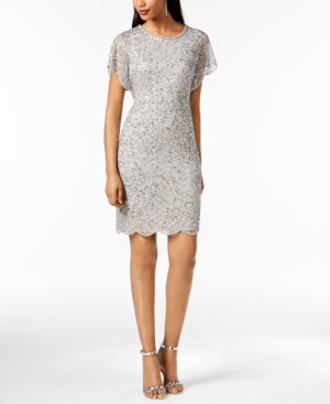 Petite Silver Beaded Papell Dress Sequined Adrianna 5UqFAzwYxp
