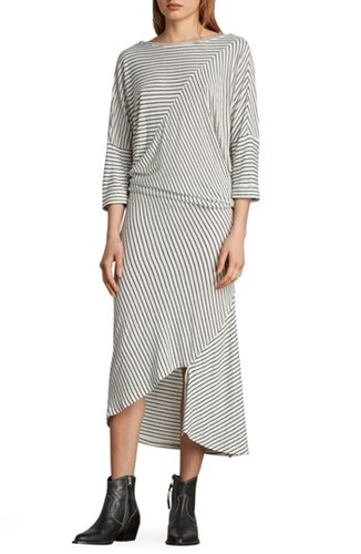 Cadie Stripe White Ecru Midi Dress AllSaints Black Aqxwn6ad8