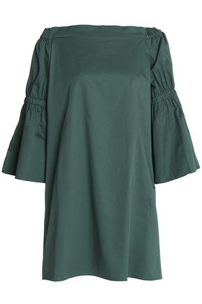 Dress The Off Poplin Tibi Emerald Cotton Shoulder nUZWxq1c