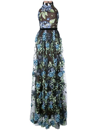 Notte Black Embroidered Hydrangea Marchesa Gown Sgwd686q
