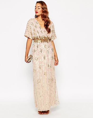 Asos Red Carpet Kimono Holographic Sequin Maxi Dress Muti imQLbUU