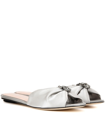 On la Silver Oscar Sandals Slip de Satin Renta fUq18U