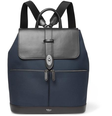 Backpack Leather Mulberry And Canvas Reston Navy ZIOx6ARq