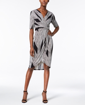 Ivanka Trump Printed Faux Wrap Dress Black Ivory sEd2R0uD