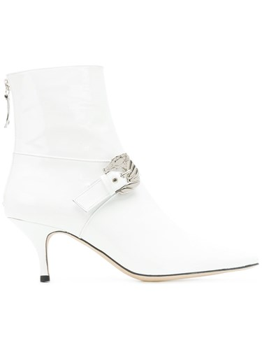 Leather Boots White Leather Patent Ankle Buckled Dorateymur PTqzgg