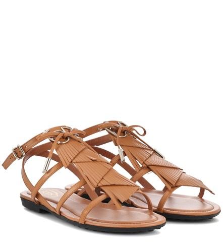 Tod's Fringed Leather Sandals Brown KZya40f
