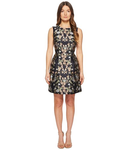 Lhuillier Monique Floral Multi Ml Floral Midnight Sleeveless Fit And Flare Jacquard Dress dr4rqT