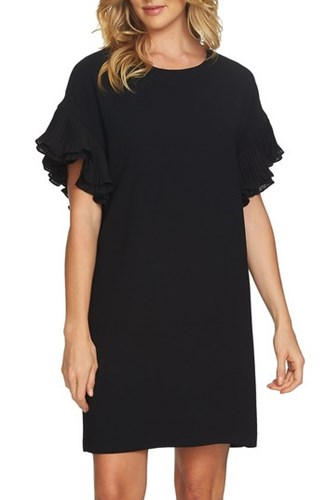CeCe 'S Tiered Pleated Crepe Shift Dress Rich Black brvh5