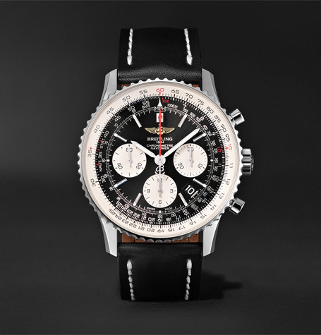 Navitimer 01 Chronograph 43Mm Stainless Steel And Leather Watch Black