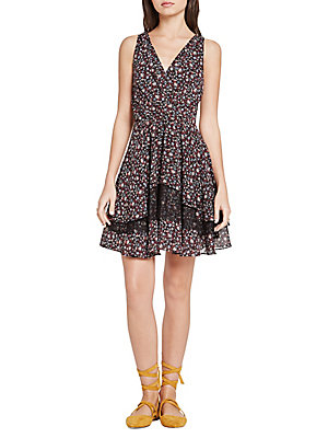 BCBGeneration Flared Floral Print Dress Deep Red Combo O6MOzy6