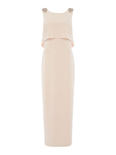 Adrianna Papell Shoulders Gown Neck Sleeveless Pink With Detail High FZr4F