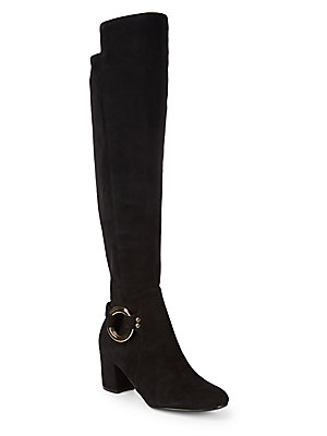 Karl Lagerfeld Cami Over The Knee Suede Boots Black GoKlXaFUS