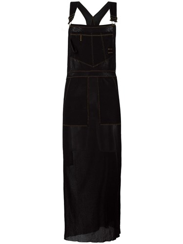 Gaultier Dress Sheer Vintage Black Jean Apron Paul Dungaree SqY55w