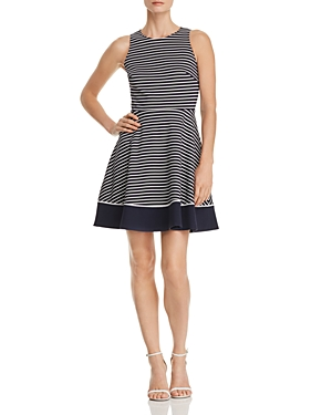And Navy Striped Spade New Flare White York Dress Rich Fit Ponte Off Kate tYASvqYw