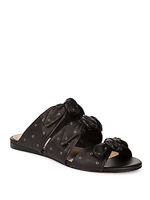 Pour Leather Logan Black La Knotted Slides Victoire 7r0wUqT7