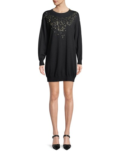 Boutique Moschino Studded Front Sweater Dress Black tc2LW4