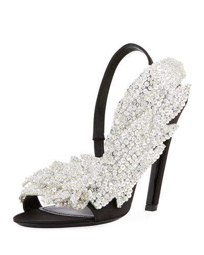 Crystal Satin Black Embellished Pump Balenciaga dZx7wSqd