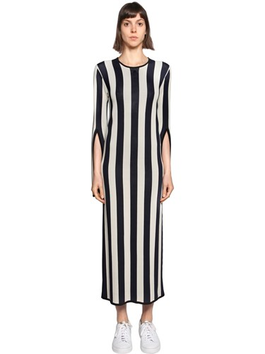 Courreges Striped Viscose Knit Long Sleeved Dress Blue Ivory 8C5qzAXV5