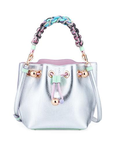 Sophia Webster Romy Butterfly Metallic Bucket Bag Silver Pastel 0vXsUWK