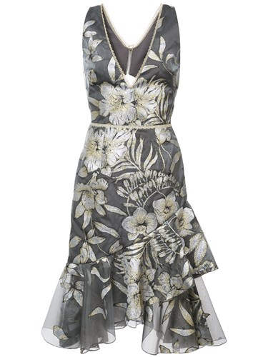 Embroidered Metallic Marchesa Dress Midi Fluted Notte Grey fO7qwAS