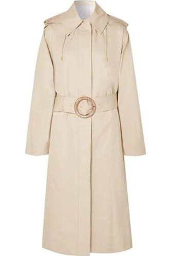 Carbon Hooded Cotton Garbardine Trench Coat Beige