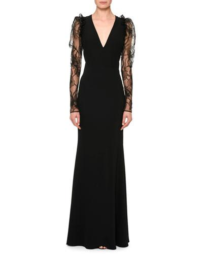 V Black Alexander Lace McQueen Column Neck Sleeve Gown xq7Swnqt