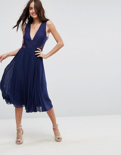 Lace Dress Midi Pleated Asos Navy Insert vARxd