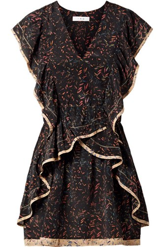 Printed Georgette Jicka Black IRO Mini Silk Gbp Ruffled Dress qvEnZO