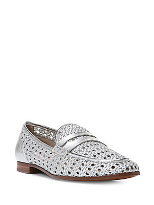 Sam Edelman Leora Round Toe Woven Leather Loafers Silver SpuhwYLE