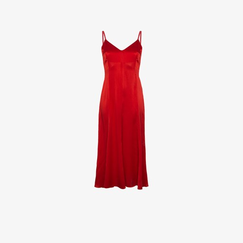 De La Vali Silk Maxi Slip Dress Red cfa2Qs0OQ