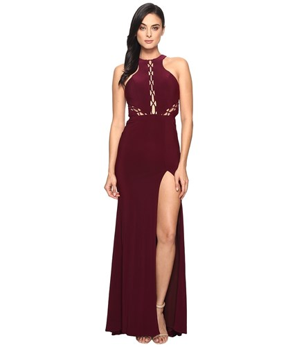 Women's On Bordeaux Up Faviana Burgundy Illusion 7909 Lace Jersey Dress tAwvwqx0p