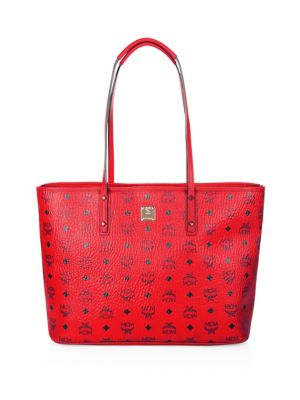 MCM Anya Coated Canvas Shopper Tote Ruby Red Cognac Black uNWC77iBI4
