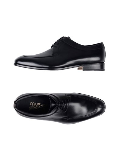 Ferragamo Shoes Up Lace Salvatore Black 46wpd4q