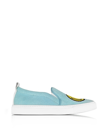 Joshua Sanders Light Blue Fleece And Leather Smile Slip On Sneakers wfqqq