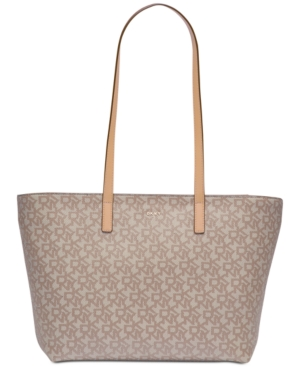 DKNY Bryant Signature Large Tote Created For Macy's Khaki Egg Nog Gold 3rHd9NL