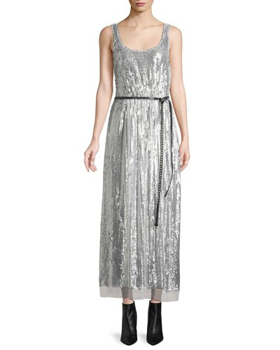 Marc Jacobs Scoop Neck Sleeveless Mirrored Sequins Belted Cocktail Dress Silver J1KgLtONj