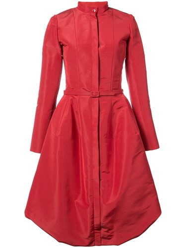 Oscar de la Renta Belted Puffer Dress Red TNHa39