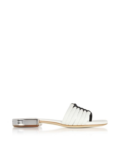Shoes Braided Sandals Flat Rodo White Black Leather dStxwZZUq