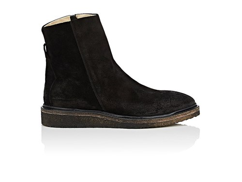 Barneys New York Crepe Sole Oiled Suede Boots Black JHxtEyYCU