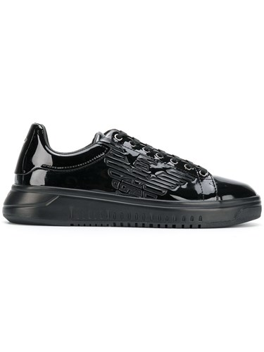 Sneakers Logo Polyester Black Leather Cotton Emporio Rubber Armani 5Exnqq4